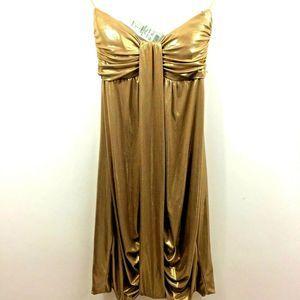 Cache Liquid Metallic Strapless Bubble Club Dress